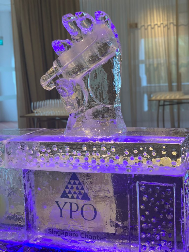 custom logo ice sculpture ice hand luge